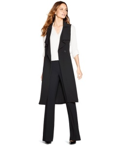 LOng drapery vest over pants