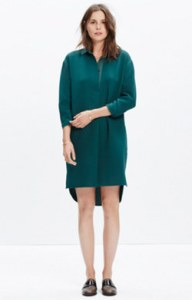 madewell solid shirt dress