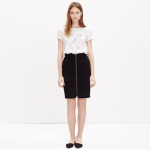 zip front denim pencil skirt