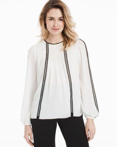 contrast-lace-trim-blouse