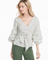 striped-dramatic-sleeve-sashed-blouse