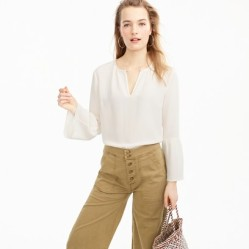 bell-sleeve-top-and-khakis-j-crew