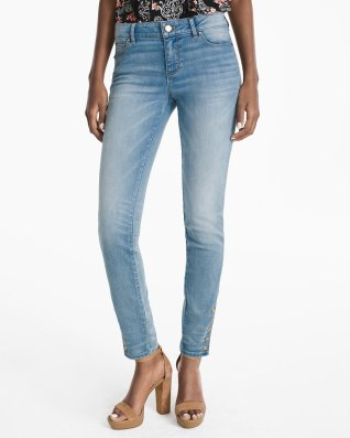 snap light wash jeans