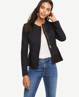 zippered peplum jacket