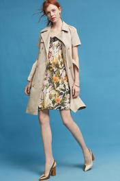 floral dress under trench