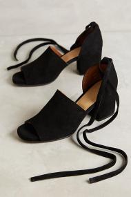 peep toe tie up shoes
