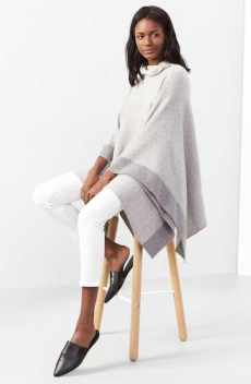 Poncho and white denim
