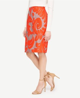 fan leaf pencil skirt