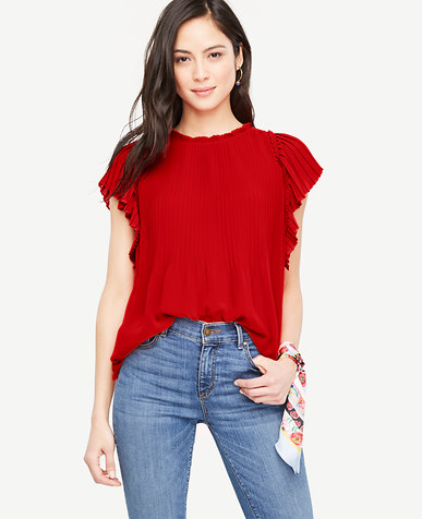 pleated shoulder blouse and jean