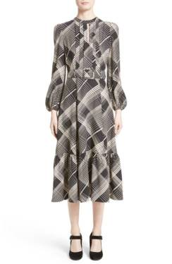 Co plaid silk Midi dress