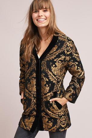 Jacquard cocoon coat