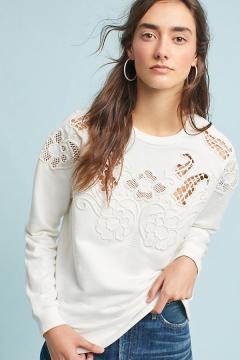 lace cutwork sweatshirt