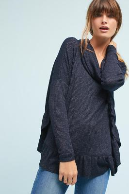 Ruffled cowl neck pullover