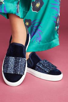 velvet with bow sneakers