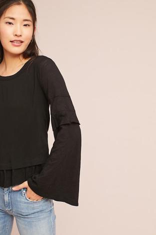 Woven ruffle sleeve t shirt