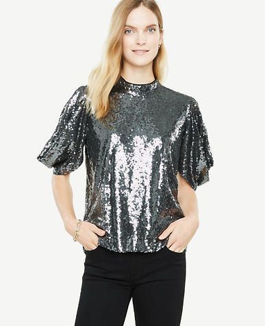ann Taylor sequined top and black jeans