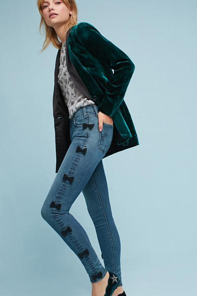 Maguire mid rise bow jeans