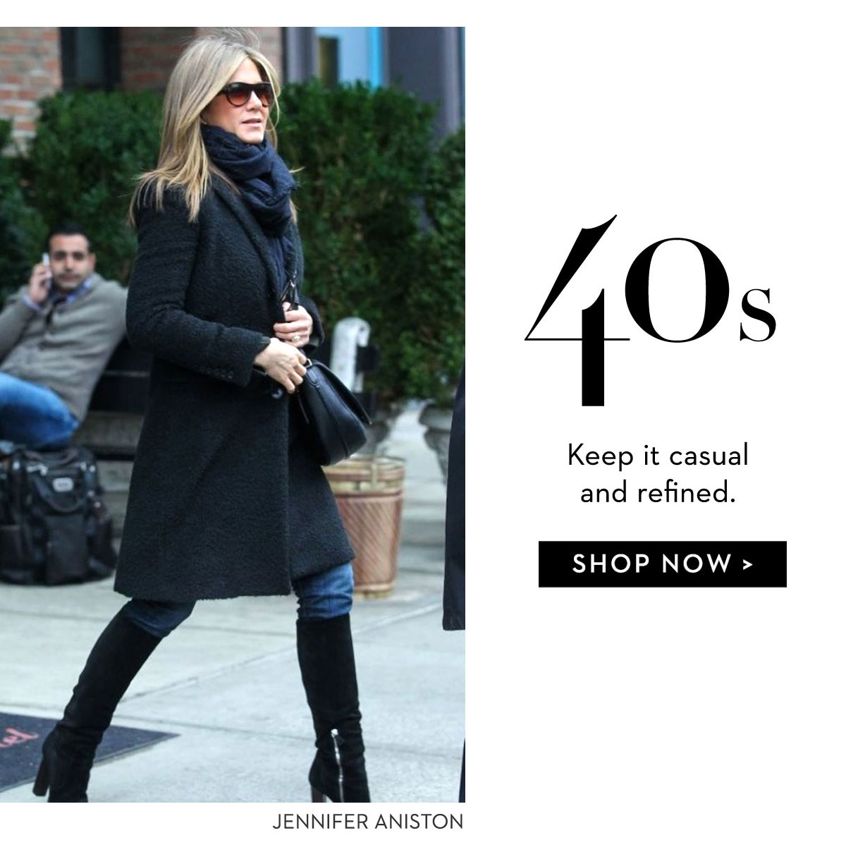 jen Aniston black coat